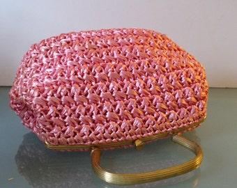Vintage Pink Raffia Morris Moskowitz Handbag