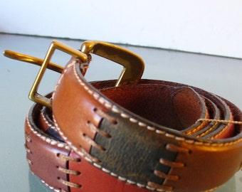 Vintage Fossil Patchwork Leather Belt Size L
