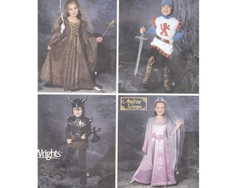 Game of Thrones Renaissance Costumes Simplicity Sewing Pattern 5520 S5520 Unisex Childrens Sizes 3 to 8 Dress Tunic Boots Hood Cuffs Helmet