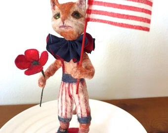 Patriotic spun cotton ginger kitty cat vignette a OOAK vintage craft by jejeMae 4th of July ornament decoration