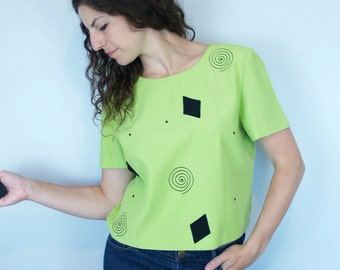 1980s 1990s Vintage Neon Green and Black Abstract Short Sleeve Sleeved Button Back Blouse / Diamond Spiral Dot Print Pattern Top / Medium M