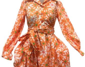 1970s Orange and Green Daisy Mini Dress - Size Small
