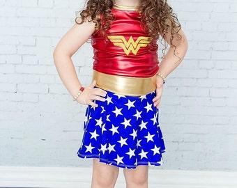 Girl Wonder Woman Costume - Baby Girl Wonder Woman Costume - Girl Halloween Costume - Baby Girl Halloween Custome Super Hero 2T 3T 4T 5 6