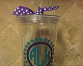 CUSTOM ORDER Personalized Acrylic Tumbler with circle monogram in frame with dots