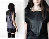 Minimalist Black Leather Top - Boho Goth Sleeveless Chiffon Blouse Avant Garde Vintage Leather Vest Gray Lavender Crop Top Fall Winter 2015