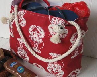 Lobster Beach Bag/Large Nautical Tote/Monogram Tote/Red and White Beach Tote/Gift For Her/Navy Beach Tote/Coast Vacation Tote