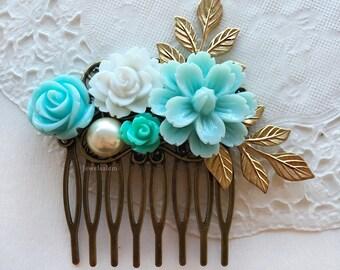Wedding Hair Comb Gold Leaf Flower Bridal Hair Clip Adornment Turquoise Blue Light Mint Aqua Pastel Seafoam Pearl Bridesmaid Gift Hair Slide