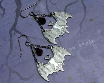Vampire Bat Earrings, Bat Earrings, Goth Earrings, Halloween Earrings, Vampire Earrings, Holiday Earrings, Vampire Jewelry, Goth Jewelry