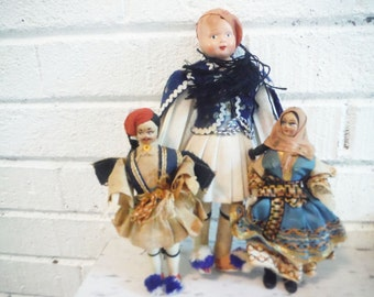Vintage Greek folk dolls traditional dress three set blue and white mid century collection