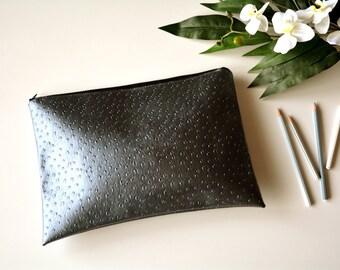 Grey clutch, Vegan leather clutch purse,Silver clutch, clutch purse, faux ostrich leather bag, leather clutch, faux leather purse