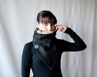 black cowl scarf, tartan scarf, women's scarf, men's neckwarmer,gift for him, black shawl, black scarf, gift for her, black neckwarmer