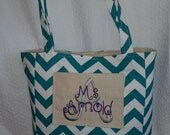TEACHER Tote Bag Heavy Duty Pockets For Her Gift Idea Weekender Personalized Monogram Storage Carry All Bible Shopping Chevron Trendy Bag