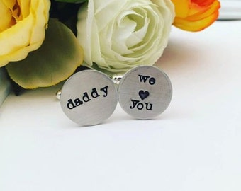 Personalized Cufflinks - Hand Stamped Cufflinks - Cufflinks for Dad - Handstamped Cufflinks - Wedding Cufflinks - Custom Cufflinks