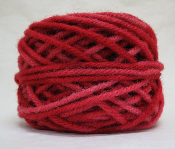 RUBY, 100% Wool, 2 ozs. 43 yards, 4-Ply Bulky weight or 3-ply Worsted weight yarn, already wound into cakes, ready to use, made to order.