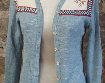 heathered blue SLIM FIT CARDIGAN vintage sweater embroidered S