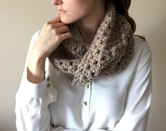 Chunky Neckwarmer Knitted Cowl Scarf, Circle Scarf | Taupe Brown | Vegan Yarn