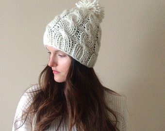 Cable Knit Slouchy Hat with Pom Pom, Beanie / Cream White / Vegan Yarn