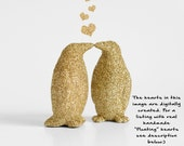 Two Gold Kissing Penguins Glitter Wedding Cake Topper Keepsake, Birthday Party Decoration, Baby Showers or Children's Room or Nursery Decor