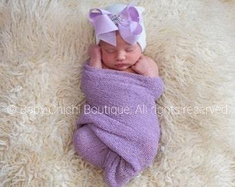 Newborn Girl Hat - Lavender Rhinestone Bow (newborn hospital hat, baby girl hat, newborn beanie, hat with bow)