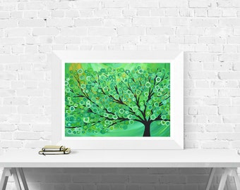 Giclee Print of Original Tree Painting - Green Abstract Tree Painting by Louise Mead
