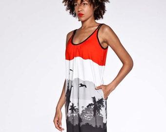 FINAL 50%OFF SALE Beach dress with hawaiian sunset pattern.