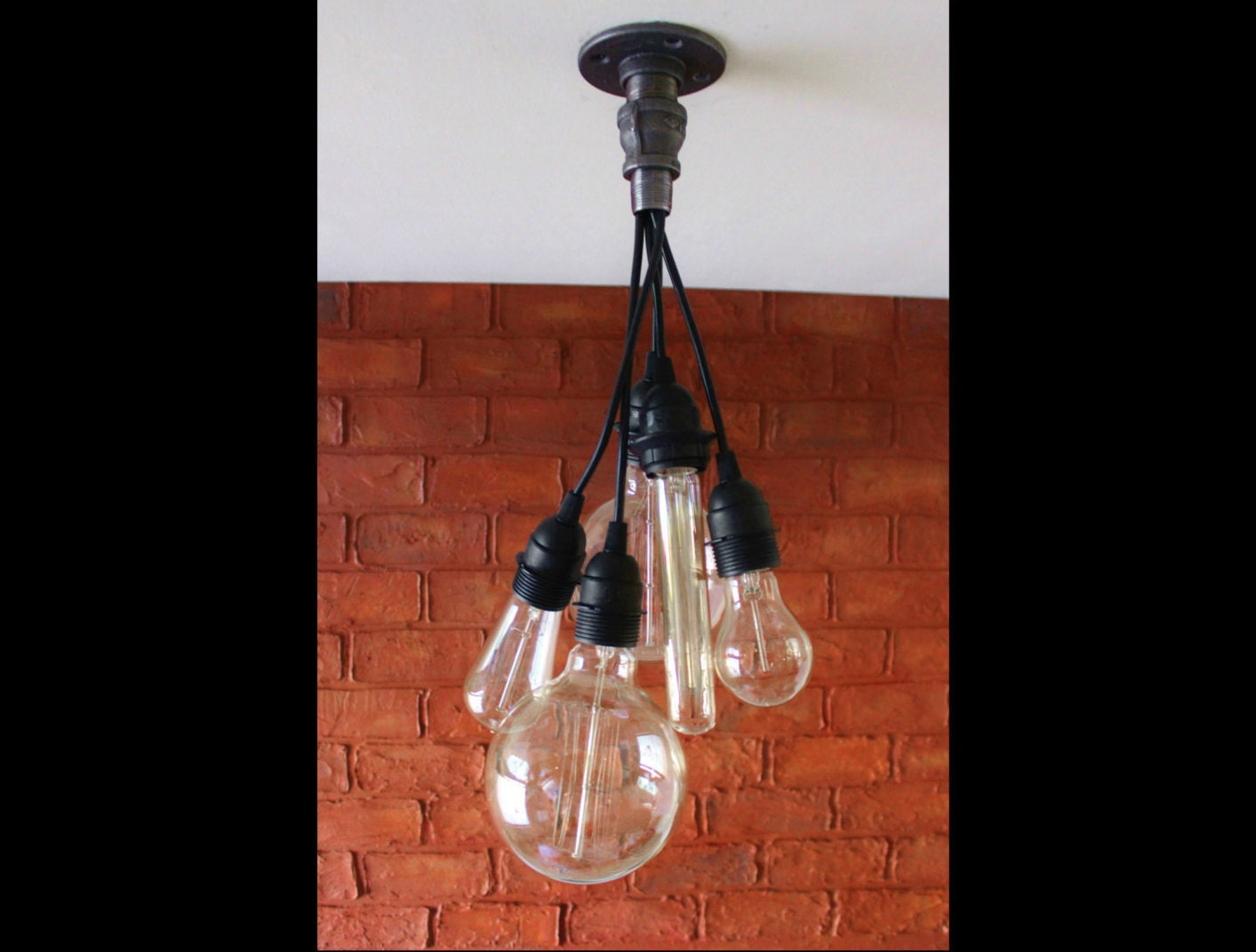 Edison bulb chandelier ceiling light cluster pendant - Can light chandelier ...