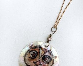 Owl Pendant, handpainted on ivory shell