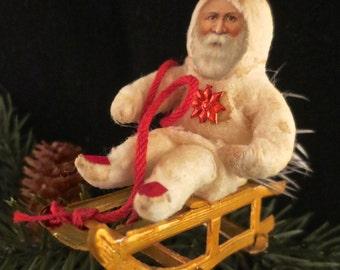 Reproduction Spun Cotton Santa Ornament on a Dresden Sled