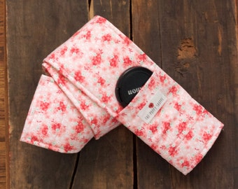 Camera Strap Cover- lens cap pocket and padding included- Field of Floral