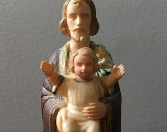 """Vintage Jesus Statue with Baby ~ 5"""" Religous Dashboard Icon ~ Christianity"""