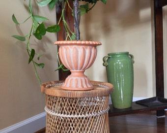 Vintage 70's Wicker Planter / Small Wicker Table / Wicker Basket