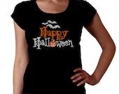 Happy Halloween RHINESTONE t-shirt tank top sweatshirt S M L XL 2XL - Bats Pumpkin Spooky Bling