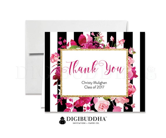 Graduation Thank You Cards Folded Thank You Black White Stripe Pink