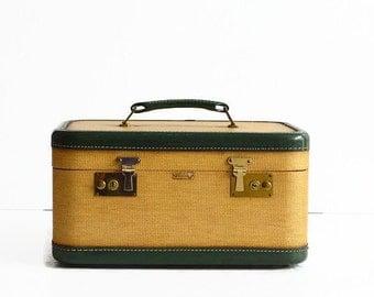 vintage tweed train makeup case 1940s luggage