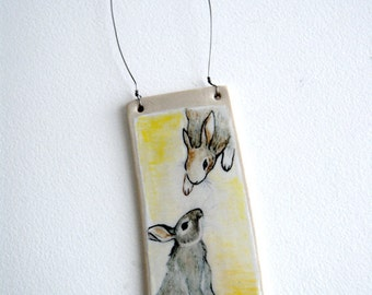 love from above - rabbit ceramic wall hanging - bunny art