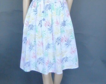 70s vintage skirt, pleated skirt, white skirt, retro skirt, printed bamboo leaves
