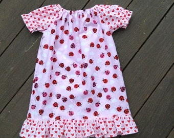 4T Ladybugs and hearts peasant dress, Valentine Dress, Size 4T, Ready to Ship