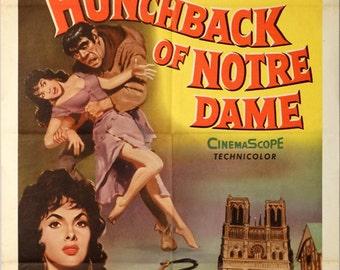 "Hunchback of Notre Dame, The. 1957 Original 27""x41"" US Movie Poster. Gina Lollobrigida (Esmerelda),Anthony Quinn (Quasimodo-Hunchback)."