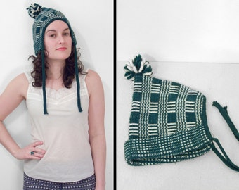 1970s WINTER Hat Hunter Green + White Plaid Pom Pom Chin Ties