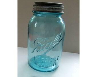 Antique Blue-Green Ball Perfect Mason Jar with Ball Zinc Cap Quart 1910-20s