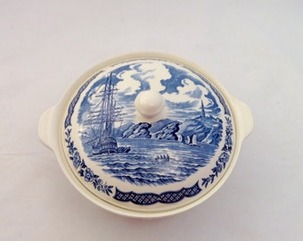 Alfred Meakin Fair Winds Covered Server, Casserole, Blue and White, Nautical Theme