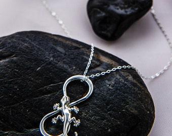 Gecko Pendant, Lizard Necklace, Sterling Gecko, Lizard Jewelry, Gecko Charm, Infinity Necklace, Sterling Necklace, Lizard Chain
