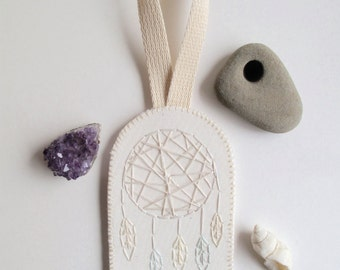 Modern dreamcatcher wall hanging or ornament hand embroidered geometric design with creams and whites on organic muslin MADE TO ORDER