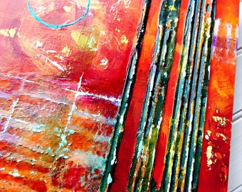 Original Acrylic Abstract Diptych Cradled Panels Reds Orange Modern Mixed Media Abstract 10x20 wall art