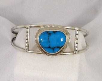 Native American Indian Genuine Blue Turquoise Cuff Bracelet Vintage Tracy B Designs Estate Jewelry Specialist Buyer Seller