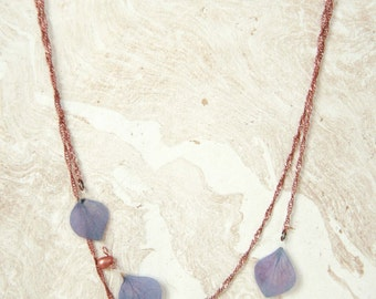 Natural Flower Jewelry - Purple Hydrangea Pressed Petal Necklace with Copper Teardrop Glass Beads