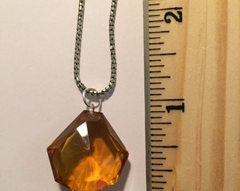 Honey Colored Crystal on 18 inch Necklace