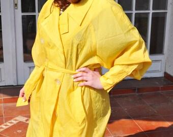 Vintage Bright Yellow Semi Sheer Windbreaker Coat