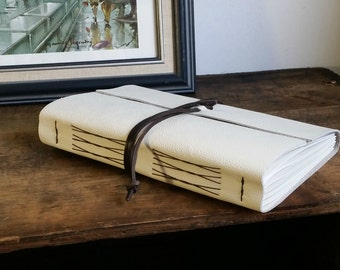 "Large Leather Journal, 6"" x 9"" White Journal by The Orange Windmill on Etsy 1611"