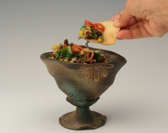 salsa bowl with flower design, bowl with a stand, ceramic bowl for ice cream, chutney pot,  unique serving dish for dips and sauces